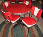 Red Cracked Ice Round Diner Table w/Handle V-Back Chairs USA NEW