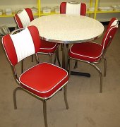 "50's Style Red Glacier Boomerang 5pc Diner Set 36"" Table NEW"