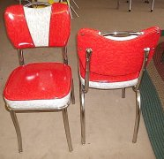 50's Vintage Style Cracked Ice Handle V-Back Dinette Chairs USA