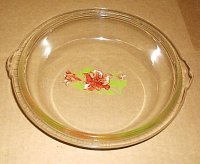 RARE EARLY Glasbake Painted Flower Casserole Lid Round 506 XC