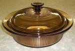 Corning Vision Amber 1.5 L Covered Round Casserole w/ Lid LN