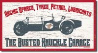 Busted Knuckle Garage Fun Tin Sign for Mechanics Race Car NEW
