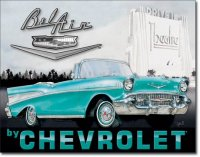 1957 Chevy Bel Air Theatre Fun Tin Metal Sign US NEW